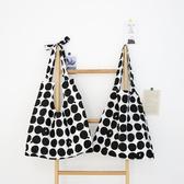 復古黑色波點側背包包女 大容量學院風帆布包【聚寶屋】