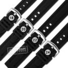 Watchband / 18.20.22.24 mm / 各品牌通用 舒適耐用 輕便 運動型 加厚矽膠錶帶 黑色 #804-13-BK