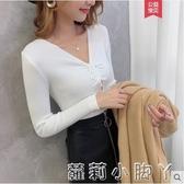 時尚性感v領緊身毛衣女長袖2020短款套頭修身顯瘦洋氣針織打底衫   蘿莉小腳丫