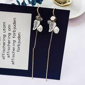 耳環 葉子 拼接 珠珠 鍊條 流蘇 個性 耳鈎 耳環【DD1804216】 ENTER  05/24