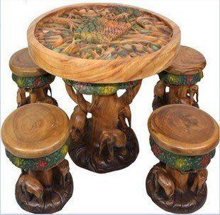木雕蓮花大象凳子