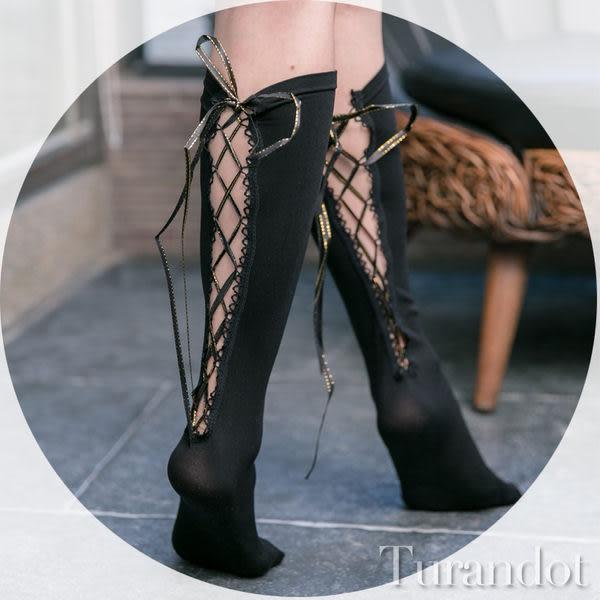 ◆Turandot-杜蘭朵 ◆情人節 彈性百變造型 性感膝上後綁帶黑襪 [132043] FREE
