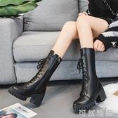 靴子女新款秋冬粗跟高跟中筒靴英倫百搭瘦腳馬丁靴直筒機車靴 可然精品