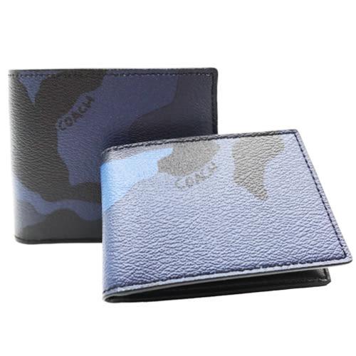 COACH 藍X黑迷彩八卡短夾-附票卡夾