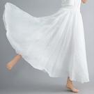 夏天裙子復古文藝雙層棉麻大擺長裙顯瘦荷葉邊中長款白色半身裙女 果果輕時尚