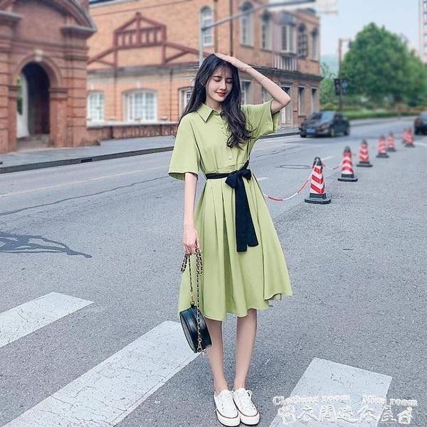 襯衫洋裝牛油果綠2021夏新款學生仙女超仙森系收腰顯瘦小清新襯衫裙連身裙 衣間迷你屋