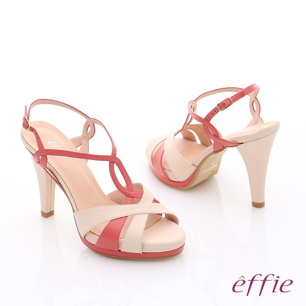 effie 摩登美型 全真皮雙色鏤空高跟涼鞋  橘紅