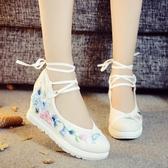 中跟鞋5cm 新款老北京布鞋女 內增高漢服鞋子高坡跟古風鞋子搭配民族風繡花鞋