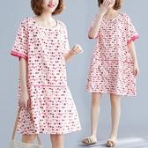 洋裝 連身裙寬鬆波點拼接中長款圓領短袖連衣裙減齡氣質圓點碎花打底裙