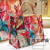 折疊包大容量環保購物袋油畫手提袋防水便攜【時尚大衣櫥】