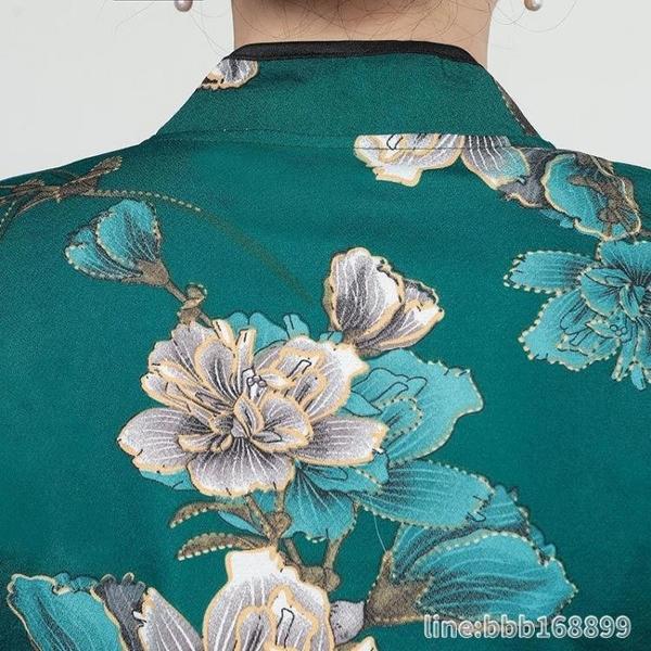 媽媽禮服 加絨加厚旗袍上衣短款媽媽裝50歲中老年女秋冬大碼洋氣長袖T恤衫 星河光年
