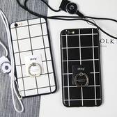 [24hr-現貨快出] iphone 6 s 7 plus 蘋果 6s 簡約 方格 指環 支架 保護套 iPhone6 手機殼 掛繩PC+TPU 貓咪