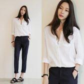 棉麻上衣 V領襯衫女棉麻長袖寬鬆襯衣韓國亞麻中長款上衣女  都市時尚