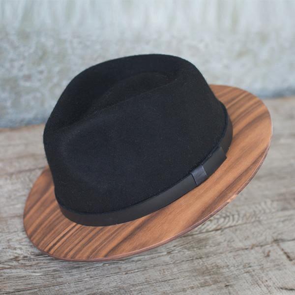 THE TWO GUYS BOW TIE Black Fedora w / Walnut Brim 手工木製紳士帽 - 岩黑