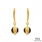 點睛品 g*collection系列 圓形黑玉髓黃金耳環