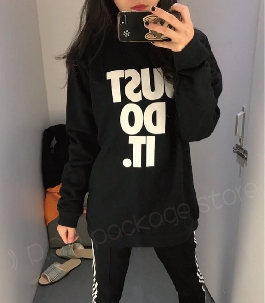 Nike AV15 Crew 黑色 Just Do It 運動 男女長袖T恤AJ2334-010耐吉大學T/澤米