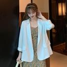 西裝外套 秋季2021新款韓版薄款氣質寬鬆上衣垂感洋氣霧霾藍長袖西裝外套女 歐歐