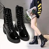 短靴 韓版新款馬丁靴中筒皮靴時尚女鞋系帶瘦瘦靴秋冬季短靴子厚底