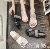 網紅拖鞋女夏時尚外穿潮百搭夾腳人字拖外出厚底夏天水鑚涼拖 可然精品