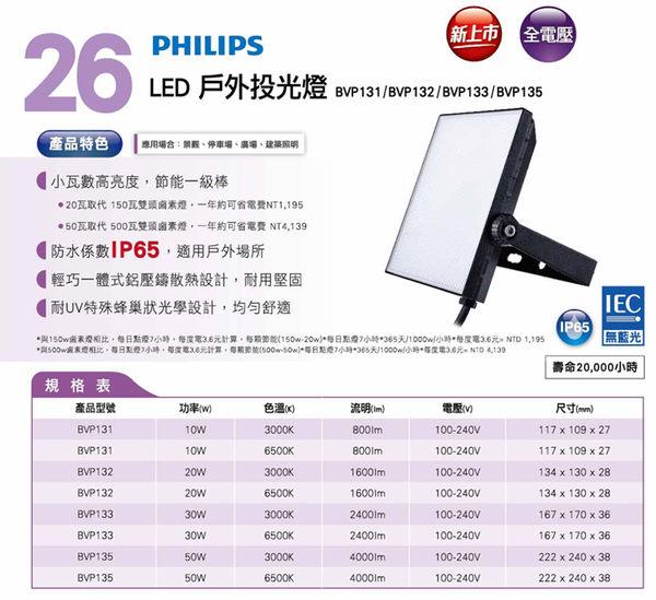 【燈王的店】飛利浦 LED 30W 戶外投光燈 全電壓  黃光/白光 ☆ BVP133