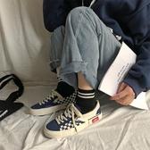 男鞋萬斯洲帆布鞋男女情侶韓版潮流ulzzang百搭黑白格子學生板鞋 金曼麗莎