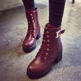 2018新款韓版秋冬拉鏈高跟馬丁靴女短靴粗跟網紅英倫百搭加絨女靴 藍嵐