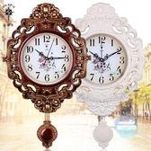掛鐘 20英寸歐式復古搖擺掛鐘客廳簡約時尚掛錶臥室靜音石英鐘錶T 1色