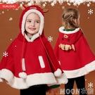 聖誕節 女童麋鹿斗篷披肩嬰兒寶寶可愛披風秋冬裝加絨衣服圣誕節兒童服裝 moon衣櫥