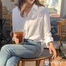 長袖襯衫 白襯衫女早秋長袖復古內搭打底輕熟上衣氣質休閒韓版寬鬆垂感襯衣 愛丫 新品