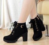秋冬新款韓版高跟粗跟女靴子系帶短筒靴女短靴馬丁靴單靴女鞋棉靴   初見居家