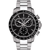TISSOT 天梭 V8系列三眼計時手錶-黑/42.5mm T1064171105100