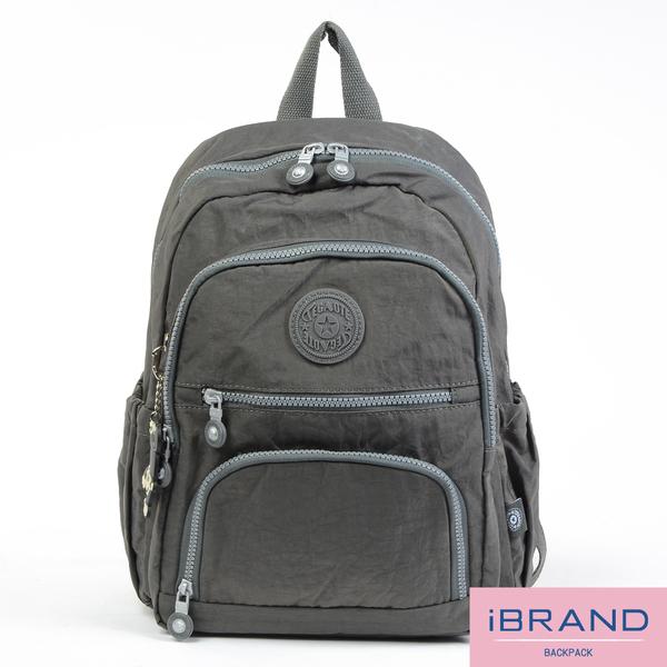 【i Brand】繽紛樂園尼龍多口袋後背包-自信灰 TGT-1368-GR