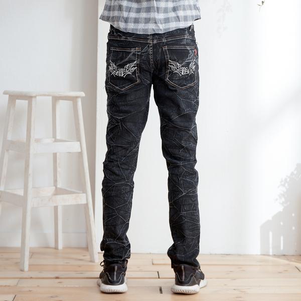 鬼洗圖騰刺繡牛仔褲2色