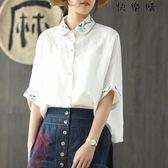 刺繡襯衣苧麻襯衫寬鬆短袖女上衣