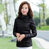 黑色小棉襖輕薄修身立領工裝棉衣女冬季短款羽絨棉服工作服外套 小山好物