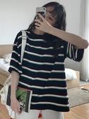 條紋T恤 心機短袖t恤女新款款小眾寬鬆ins潮正韓條紋