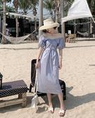 洋裝 2020夏季新款氣質一字領收腰褶皺泡泡袖短袖中長款連衣裙女裝