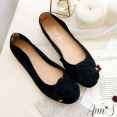 Ann'S了不起的魅力-山茶花金色小愛心全真皮麂皮平底娃娃鞋-黑