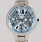 【萬年鐘錶】星辰 CITIZEN Wicca 三眼時尚設計女腕錶   藍x銀 33mm BH7-512-71