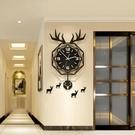 美世達北歐網紅鹿頭鐘表掛鐘客廳家用裝飾表客廳墻上時鐘