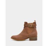 真皮短靴-R&BB牛皮*隨性皮帶經典百搭雀兒喜低跟靴-棕色