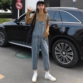 背帶褲 牛仔背帶褲女2020春季新款韓版寬鬆高腰顯瘦九分吊帶直筒褲子學生 艾維朵