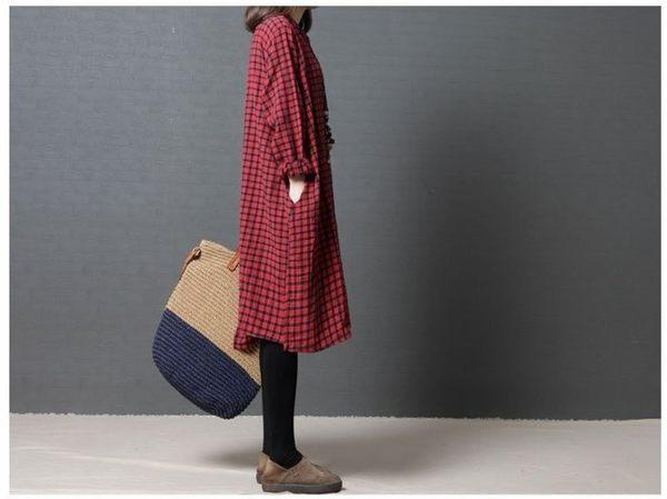 漂亮小媽咪 文藝風格洋裝 【D1806】 格紋 開扣 長袖洋裝 孕婦裝 長袖洋裝 開襟 襯衫洋裝