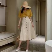 長裙 韓版高腰顯瘦單排扣裙子