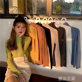 長袖T恤秋冬寬鬆毛衣女套頭新款堆堆領修身長袖高領針織衫打底衫H443 蜜拉貝爾