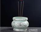 香爐香爐家用室內浮雕蓮花陶瓷香爐供佛供奉佛具用品插香香碗香薰爐 快速出貨
