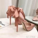 韓版百搭尖頭淺口單鞋細跟絲綢綁帶蝴蝶結仙女鞋粉色伴娘高跟鞋女 依凡卡時尚