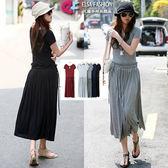 洋裝長裙 艾爾莎 甜美抓皺腰綁帶短袖連身裙【TAT6761】