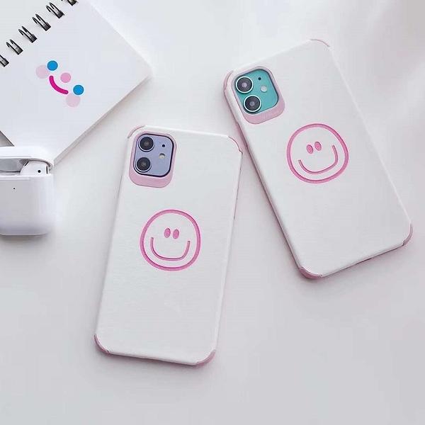 蘋果11Pro Max手機套 簡約粉色可愛笑臉iPhone6/6s/7/8/XR保護殼 IPhone SE手機殼 蘋果X/Xs Xs Max保護套