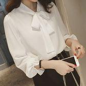 雪紡衫/白襯衫韓版寬鬆蝴蝶結上衣繫帶雪紡襯衣女長袖「歐洲站」